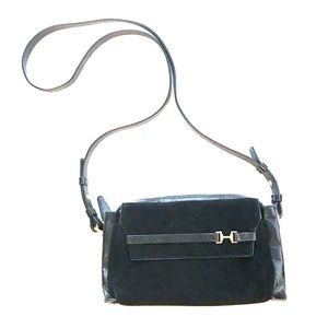 Halston Heritage Black Leather & Suede Cross Body